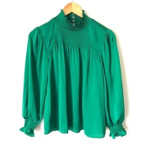 Ali & Jay   Green Smocked Neck Long Sleeve Blouse